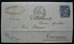 Marseille 1879 Mce Nugue Dépôt De Glaces, étiquette à L'arrière Manufactures De Recquignies Jeumont Et Aniche Voir Int - 1877-1920: Periodo Semi Moderno