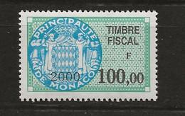 TIMBRES FISCAUX DE MONACO SERIE UNIFIEE N° 97 100F00 Vert, Bleu 2000 - Revenue
