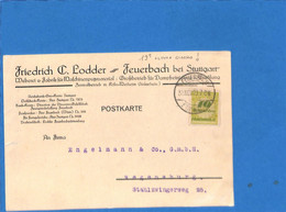 Allemagne Reich 1923 Postkarte De Feuerbach - 30.11.23 !!    (G2112) - Storia Postale