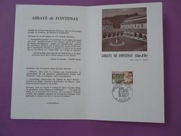 Encart FDC Folder Abbaye De Fontenay Medieval édition Lions Club Marmagne 21 Côte D'Or 1977 - Abbayes & Monastères