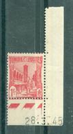 TUNISIE - N° 215** MNH LUXE SCAN DU VERSO Avec Coin Daté Du 28.3.45. - Ongebruikt