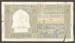 Marocco - Banconota Circolata Da 1000 Franchi P-16c.10 - 1950 #17 - Marokko