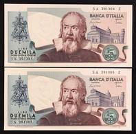 2000 Lire Galilei 2 Es. Consecutivi Curiosità Azzurrino 1983 Fds LOTTO 1513 - 2000 Lire