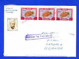 """SUDAN 2012 Cancelled Cover W/ 3x 2007/2008 2 SDG Overprint Surcharge On 8 LS Stamps """"Missent To Tanzania"""" SOUDAN - Sudan (1954-...)"""