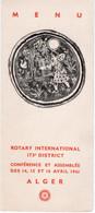 ALGER - ROTARY CLUB INTERNATIONAL 173 EME DISTRICT  MENU AVRIL 1961 - RARE - Menú