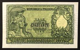 50 Lire Italia Elmata 31 12 1951 Bolaffi Fds LOTTO 1974 - 50 Liras