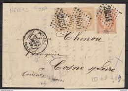 BICOLORE Paire N°59 + N°38 Sur Lettre TBE - 1871-1875 Ceres