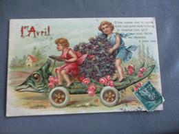 Belle Carte Fantaisie Gaufree Voiture Poisson Enfant Rose - April Fool's Day