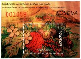 Kosovo Stamps 2021. Forest Fruits: Blueberry, Strawberry, Raspberry. Block MNH - Kosovo