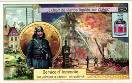 6 Cards Litho Chromos Ancient Firemen Fighting Pompier Steam Pumps Vaults - Brandweer Incendie Pompier 19th - Liebig