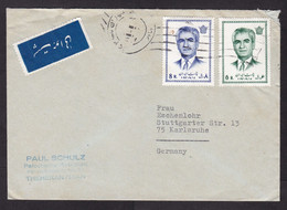 Iran: Airmail Cover To Germany, 2 Stamps, Shah, Rare Air Label (minor Damage, See Scan) - Iran