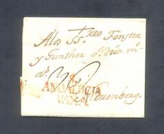 "1791. Carta De Sevilla A Nuremberg (Alemania). Marca Roja ""S./ANDALUCIA/VAXA"". Porteo ""36"". Inusual Destino. Rara. - ...-1850 Voorfilatelie"
