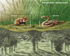 België Belgium 2021 - Europa CEPT Endangered Animals European Hamster + Adder  - Stamp Sheet With Blacklight Effect - Unused Stamps