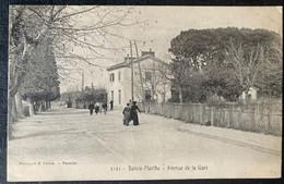 CPA MARSEILLE SAINTE MARTHE AVENUE DE LA GARE (13 Bouches Du Rhône ) 1907 Animée CYCLISTE FILLES SAIN BEL - Saint Barnabé, Saint Julien, Montolivet