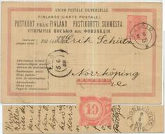 1888 Postkarte Michel P20 Kuopio > Abo > Norköping Wertstempeleindruck Mit Plattenfehler - Covers & Documents