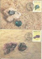 Brazil 1989 2 Maximum Card GeologyBrazilian Gems Tourmaline And Amethyst - Altri
