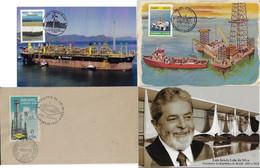 Brazil 2 Maximum Card Pre-Salt Oil Petroleum Offshore Ship Lula Field Energy Postcard President In Brasília Petrobras - Oil
