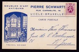 DDZ 584 - Archive Vanthienen (Encadreur à BXL) - Carte Illustrée TP Héraldique Meubles D' Art Schwarts  à UCCLE - 1929-1937 Heraldic Lion