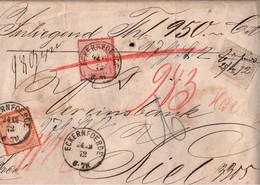 ! 1872 Wertbrief Vorderseite Aus Eckernförde An Die Vereinsbank Nach Kiel Mit Deutsches Reich Nr. 12 - Lettres & Documents