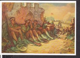 """Postkarte """" Das Bild Des Krieges """" , Ausstellung Luftgaukommando VI. , """" Kampfpause Am Wüstenfort  """" - Guerra 1939-45"""