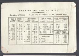Bayonne (64 Pyrénées Atlantiques) Horaire Chemins De Fer Midi 1911 + Carte PORCHE Imprimerie (2 Scans)  (PPP29646) - Europa