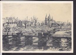 """Postkarte """" Das Bild Des Krieges """" , Ausstellung Luftgaukommando VI. , """" Notbrücke über Den Dnjepr In Smolensk """" - Guerra 1939-45"""