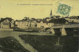 14 Villers-le-Lac Le Casino, La Douane, Le Bateau CP Couleurs écrite En 1909 - Altri Comuni