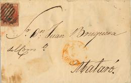1852 , MADRID - MATARÓ ,  CARTA COMPLETA CIRCULADA , ED. 12 , BAEZAS DE MADRID Y MATARÓ A LA LLEGADA - Briefe U. Dokumente