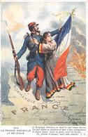 """"""" La France Accueille La Belgique"""",  Femme Belge Terrorisée, Homme Français Sauveur, Carte Géographique Géante En Feu - Koppels"""