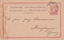 ALLEMAGNE EMPIRE ENTIER CARTE DE BURGSTADT 1881 - Covers & Documents