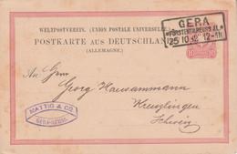 ALLEMAGNE EMPIRE ENTIER CARTE DE GERA POUR LA SUISSE 1882 - Covers & Documents