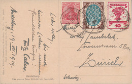 ALLEMAGNE EMPIRE AFFRANCHISSEMENT COMPOSE SUR CARTE DE HEIDELBERG POUR LA SUISSE 1919 - Covers & Documents
