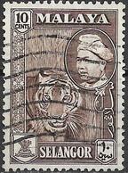 SELANGOR 1957 Sultan Hisamud-din Alam Shah - 10c - Tiger FU - Selangor