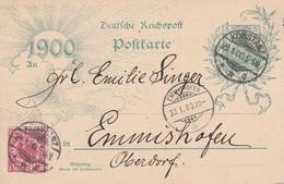 ALLEMAGNE EMPIRE AFFRANCHISSEMENT COMPOSE SUR ENTIER DE KONSTANZ 1900 - Covers & Documents