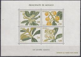 MONACO, Block 29, Postfrisch **,  Die Vier Jahreszeiten: Wollmispel 1985 - Blocks & Sheetlets