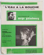 """PARTITION - FRANCE - """"L'EAU A LA BOUCHE"""" - SERGE GAINSBOURG - FILM DE DONIOL VALCROZE - ED. TUTTI - PHILIPS - Componisten Van Filmmuziek"""