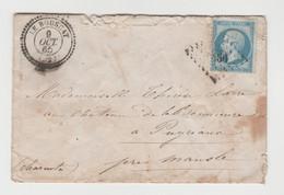 GIRONDE: LE BOUSCAT, P.C Du G.C 4466 + CàD Type 22 / LSC De 1865, B, Ind 9 Pour Mansle - 1849-1876: Periodo Clásico