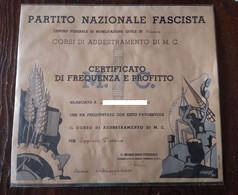 Venezia PNF Attestato 1942 X Corso Addestramento M.C. X Applicati D'Ordine Diploma  Credo Per Ausiliari Scolastici Fasci - Diplomas Y Calificaciones Escolares