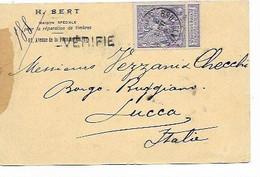 """SH 0953. N° 71 BRUXELLES 11 MARS 1898 S/CP IMPRIME  """"H. BERT.REPARATION DE TIMBRES"""" V. Lucca (Italie)-GFF VERIFIE - 1894-1896 Exhibitions"""