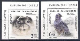 Turkey [EUROPA 2021] Endangered National Wildlife - Set Of 2 Stamps With Labels (MNH) - Sammlungen