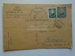 D180104  Uprated  Postal Stationery Ganzsache   -ROMANIA  Cancel Arad  -sent To Budapest  1949 - Enteros Postales