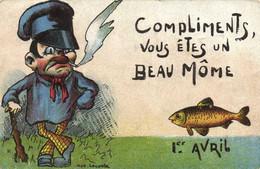 Illustrateur Signé Compliments Vous Etes Un Beau Mome 1er Avril RV  Timbre 5 C + T + Timbre Taxe 10c - 1 April (aprilvis)