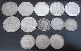 France - 13 Monnaies En Argent : 10 Francs Turin, 1 Franc Semeuse + 1 Franc Napoléon III état B - Poid Total : 98,8g - Collections