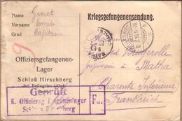 ALLEMAGNE CHARENTE MARITIME - KRIEGSGEFANGENENSENDUNG OFFIZIER - CARTE CAMP DE HIRSCHBERG POUR MATHA , CONTRÔLE - 1916 - Covers & Documents