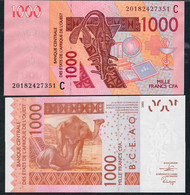 W.A.S. LETTER C Burkina Faso P 315Ct 1000 FRANCS (20)20   Signature 44  UNC. - Burkina Faso