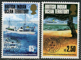 """BIOT 1974. Mi.#57/58 MNH/Luxe. Transport. Ships. 5 Years Floating Post Office """"Nordvaer"""" (Ts25) - British Indian Ocean Territory (BIOT)"""