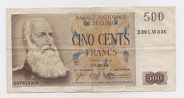Billet De Banque 500 Francs Belge - Léopold II - Belgique - Année : 10/02/1958 - Non Classificati
