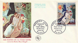 FRANCE - Enveloppe FDC - Chagall, Les Mariés De La Tour Eiffel - Tb N° 1398 - 1963 - 1960-1969