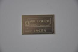 Plaque Identification 'Air Liquide' - Plaques émaillées (après 1960)