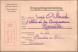 ALLEMAGNE , BOUCHES DU RHÔNE - KRIEGSGEFANGENENSENDUNG - CARTE DE DÜLMEN POUR MARSEILLE - 1917 - Covers & Documents